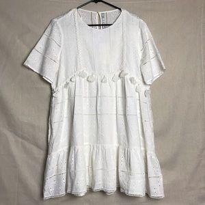 Zara NWT White Boho Tassel Sun Dress Size Large